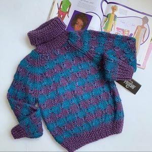 Vintage ❤️ Hand Knit Turtleneck Sweater ❤️ Size S